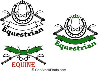 Equestrian sport emblems with whips and horseshoes -...