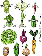 Happy fresh cartoon vegetables characters - Happy healthy...