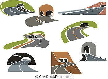 Road tunnels icons for transportation design - Road tunnels...