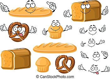 Fresh baked bread loaf, cupcake and pretzel - Whole grain...
