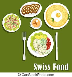Swiss cuisine with rosti, fish and chocolate roll - Swiss...