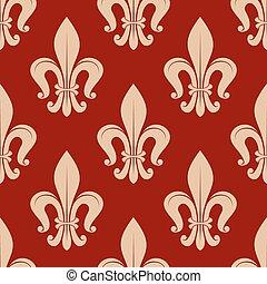 Fleur-de-lis seamless pattern on scarlet red