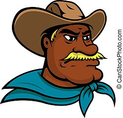 Old american cowboy cartoon character