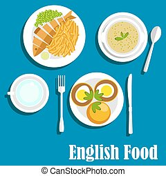 Traditional national english cuisine dishes - English...