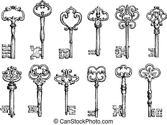 Vintage keys sketches with swirl forging - Ornamental...
