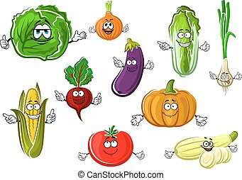 Happy appetizing cartoon isolated vegetables