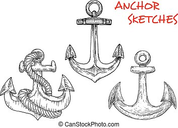 Sketches of ancient marine anchors with rope - Ancient...