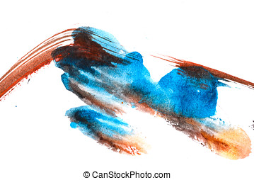 Watercolor paint abstract Blue brown - Watercolor abstract...