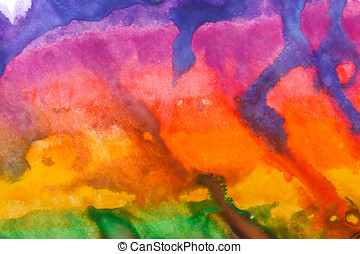 Watercolor paint abstract. Multi-colored iridescence. -...