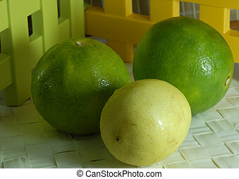 Lemon Citrus Fruit - An isolated shot of a group of lime and...