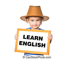 Text learn english. - Little Funny girl in striped shirt...