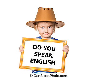 Text do you speak english. - Little Funny girl in striped...
