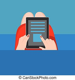 Hands holding digital tablet . Vector illustration