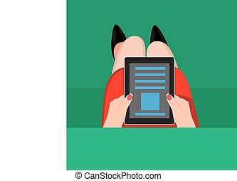 Hands holding digital tablet Vector illustration