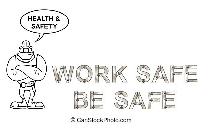 Health and Safety Message - Metallic bolted text health and...