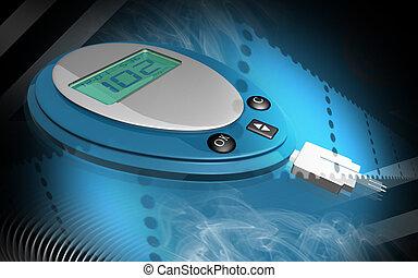 glucose meter - Digital illustration of glucose meter in...