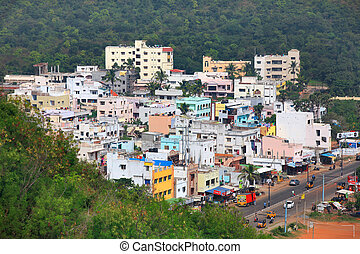 Small town in India - Visakhapatnam, INDIA - December 9 :...