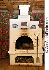russian stove - Interior of russian house with traditional...