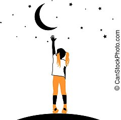 Girl reaching the stars on a white background