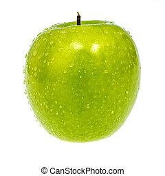 Water droplets on a closeup of a green apple
