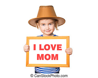 Text I LOVE MOM. - Little Funny girl in striped shirt with...