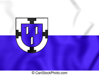 Flag of Bottrop North Rhine-Westphalia, Germany - 3D Flag of...