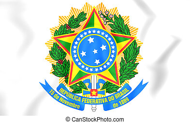 Brazil Coat of Arms - 3D Brazil Coat of Arms. Close Up.