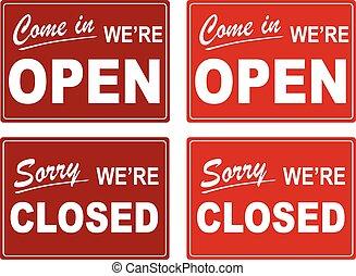 Shop Door Open Close Signs - Assorted Vector Sale and Big...