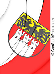 Flag of Duisburg North Rhine-Westphalia, Germany - 3D Flag...