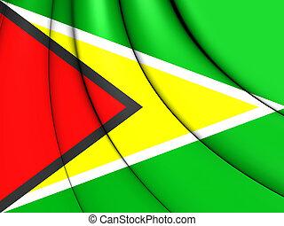 Flag of Guyana - 3D Flag of the Guyana Close Up