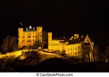 Hohenschwangau castle in Bavaria, Germany at winter time
