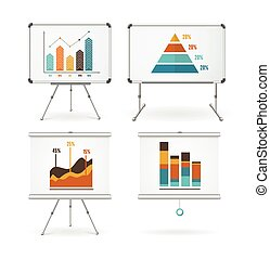Diagrams and Graphs Whiteboards Set Vector illustration