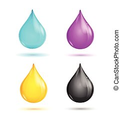 CMYK Glossy Paint Drops Vector - CMYK Glossy Paint Drops on...