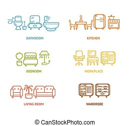 Colorful Icon Room Furniture Outline Vector illustration