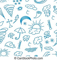 Doodle patern weather - Hand drawn Doodle patern weather,...