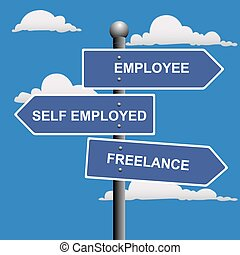 Self employed, employee or freelance street signs, vector...