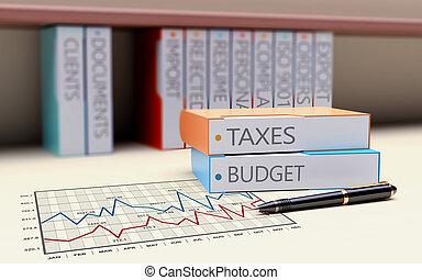 Folder with the theme of Taxation and Finance - Office...
