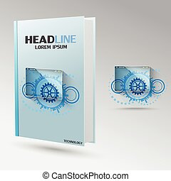 Technology sets of gears vctor brochure template. Modern...