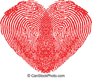 Romantic heart made of fingerprints over white background