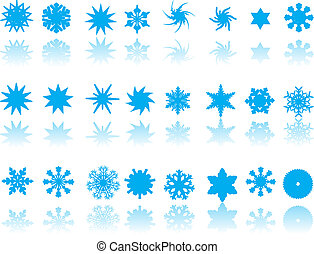 blue snowflakes on white background