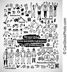 Big hand drawn icons and people doodles bundle.