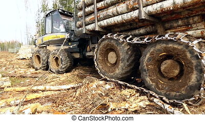 View on wheels of modern logger, close-up - Woodworking View...
