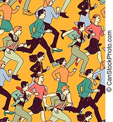 Business people run active carrier color seamless pattern.