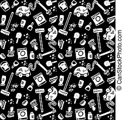 Cleaning objects icons black and white seamless pattern.