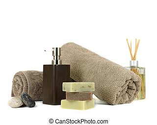 Aroma Therapy - Assorted spa treatment products isolated...