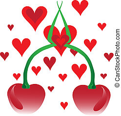 Cherries and hearts - Decorative cherries and heartsVector...