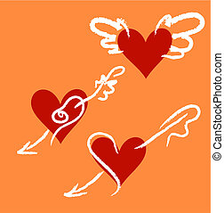 Hearts Set - Decorative hearts.Vector illustratin. Suits...