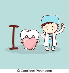 Happy cartoon tooth and dentist
