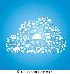Cloud computing technology concept - Flat icon, great for...