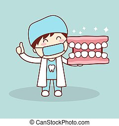 Happy cartoon denture and dentist show thumb up, great for...